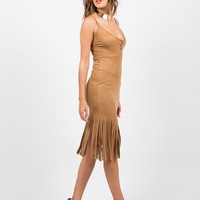 Sleeveless Fringed Suede Dress