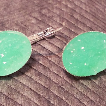 Druzy earrings-  Mint drusy silver tone dangle druzy earrings