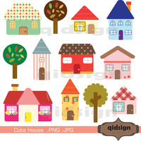 Cute House Clipart, Personal and Commercial Use,Digital clipart, INSTANT DOWNLOAD