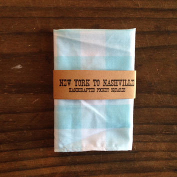 Handcrafted Pocket Square Men's Aqua White Buffalo Plaid Check Gingham Blue Turquoise Hankerchief