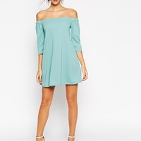 ASOS Swing Dress with Elasticated Off Shoulder Detail