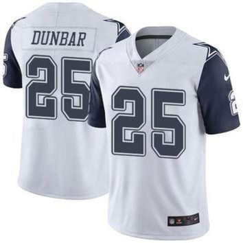 ONETOW Dallas Cowboys #25 Lance Dunbar White Men's NFL Limited Rush Jersey