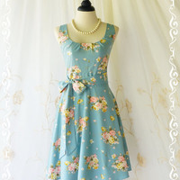 My Lady Dusty Blue Dress With Sweet Floral Print All Over Vintage Design Dress Spring Summer Sundress Tea Party Bridesmaid Dress XS-XL