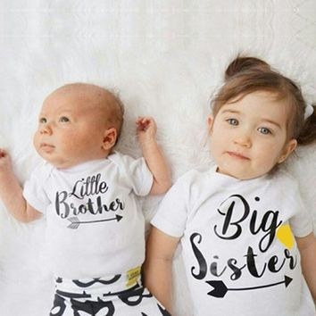 Newborn Infant Toddler Baby Kids Girls Big Sister Letter Print T Shirt Little Brother Matching Clothes Unisex Bodysuits Outfits