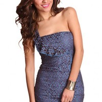 Slate Blue Multi One Shoulder Strap Crochet Sexy Party Dress @ Amiclubwear sexy dresses,sexy dress,prom dress,summer dress,spring dress,prom gowns,teens dresses,sexy party wear,women's cocktail dresses,ball dresses,sun dresses,trendy dresses,sweater dress