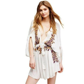 PEAPGC3 Floral Embroidery White Red Crepe cotton Beach cover up 2017 Dress womens beachwear sexy swim Cover-Ups