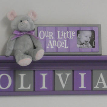 "Nursery Name Letters, Baby Girl Nursery Name Decor Personalized 30"" Lilac Shelf with 8 Purple and Gray Name Blocks - OLIVIA with Flowers"