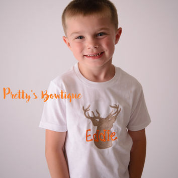 Deer T Shirt or Bodysuit for Boys -- Personalized Kids Shirts Sizes Newborn to Boys  Youth XL