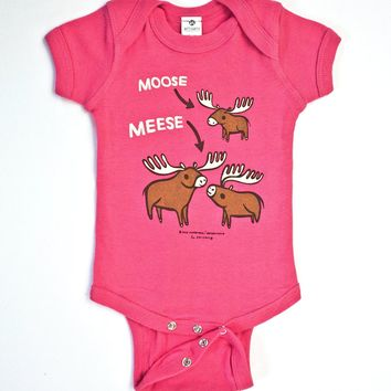 Moose / Meese Funny Baby Onesuit (Pink)