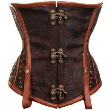 brocade Gothic Lace Up Boned Steampunk Underbust Corset Tops steel boning 9191