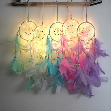 Dream Catcher LED Lighting Feather Dreamcatcher Girl Room Bell Bedroom Romantic Hanging Decoration