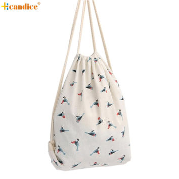 Naivety Women Bag Bird Patten Printing Drawstring Backpack Cute Fabric Shopping Tote 2017 New S6095 drop shipping