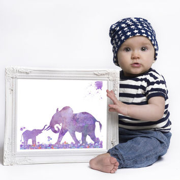 Elephant Print Nursery art Purple watercolor Baby room decor Wall Decor Digital print Wild animals Instant download GIFT UNDER 10