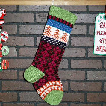 Argyle Christmas Stocking Hand Knit in Fern Green, Fair Isle Knit Stocking with Pumpkin Orange Trees, can be personalized