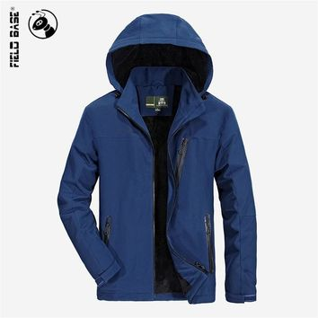 Field Base 2017 New Arrivals Winter Jacket Men Thick velvet Fashion Hooded Outerwear Mens Coat Warm Parkas Plus Size 4XL