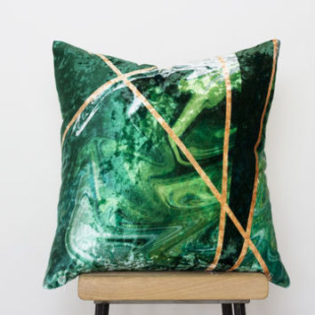 Luxury Velvet Cushion In Emerald Green And Gold