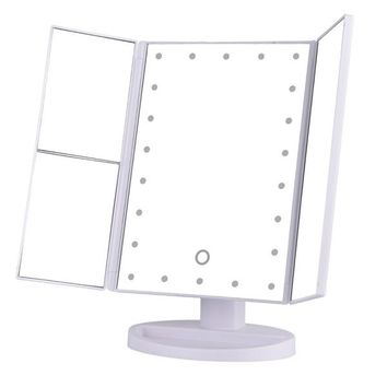 22 LED Touch Screen Makeup Mirror 1X 2X 3X 10X  Magnifying Mirrors 4 in 1 Tri-Folded  Desktop Mirror Lights Health Beauty Tool+