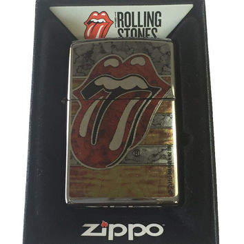 Zippo Custom Lighter - Rolling Stones Tongue Fusion Design High Polish Chrome 250-ZF400068