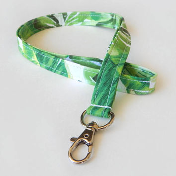 Palm Leaf Lanyard / Tropical Lanyard / Pretty Keychain / Floral / Key Lanyard / ID Badge Holder / Fabric Lanyard / Palm Leaves