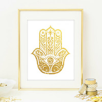 Hamsa Hand Wall Art Print - Modern Home Decor - Giclee Art Poster - Faux Gold Glitter Wall Art - NOT REAL GLITTER