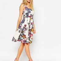 ASOS Cream Floral Debutante Midi Dress