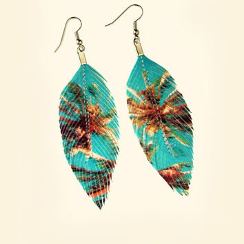 Miami - Palm Tree Print Faux Leather Feather Earrings