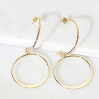 Dangling Hoop Earrings Gold