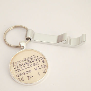 Vonnegut keychain, bottle opener key chain, mens keychain, literature gift for men, book key fob, gift for him, men who read, gifts under 15