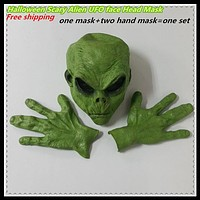 Green UFO Alien Face Head Mask Costume Party Cosplay Scary Mask with Hands