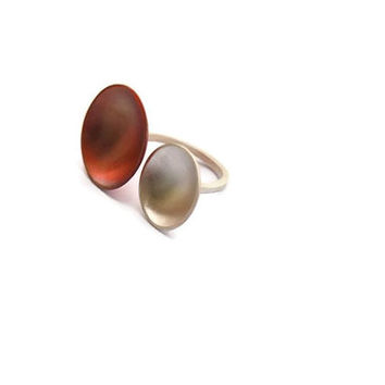 Red cooper and silver ring, Large silver copper ring, Modern silver cooper ring, handmade contemporary ring, contemporary jewelry