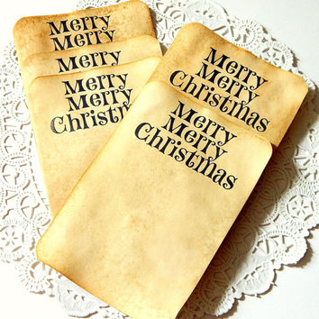 Coffee Stained Tags. Stationery. Tea Stained Paper. Tea Stained Tags. Place Card. Junk Journal Paper. Christmas Card. Christmas Tag.