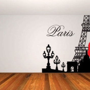 Paris & Eiffel Tower Vinyl Wall Decal Sticker Mural