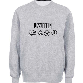 led zeppelin sweater Gray Sweatshirt Crewneck Men or Women for Unisex Size with variant colour