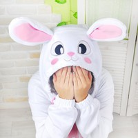Rabbit-Polyester Mesh Onesuit | Rabbit-Polyester Mesh Costume | Rabbit-Polyester Mesh Kigurumi | KiguOne.com