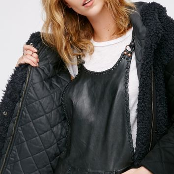Free People Hooded Terry Coat