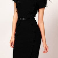 Black Short Sleeve Midi Dress with Buttons