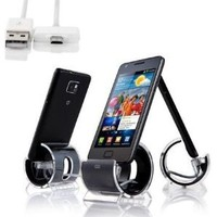 Sinjimoru Sync Stand Charge Dock Cradle for Samsung Galaxy S4, S3, S2 & Other MicroUSB Devices (BLACK)