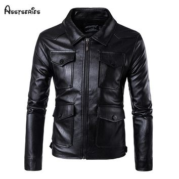2018 New Type Of Casual Men's PU Leather Jacket Quality Motorcycle Pu Leather Jacket Male Clothes Hot D93
