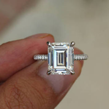 5 Carat GIA Emerald-Cut Diamond and Three Row Diamond Pave Engagement Ring 18k or Platinum, Anniversary Rings for Women, 5ct Emerald Diamond