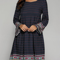 Ethnic Tribal Pattern Pleated Smock Dress