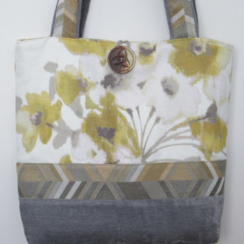 Grey Yellow Fabric Tote Bag,  Large Shoulder Bag, Yellow Purse, Yellow Handbag, Grey Handbag Purse, Chevron Purse, Fabric Bag, Large Tote