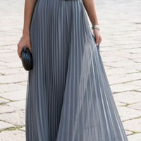 Pure Color O-neck Sleeveless Long Pleated Dress