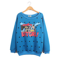 Long Sleeve Polka Dot Batman Print Sweatshirt