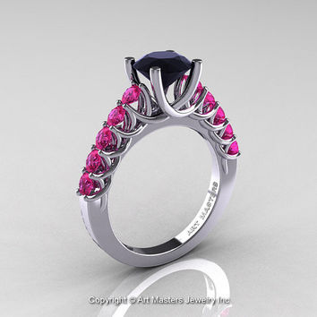 Classic 14K White Gold 1.0 Ct Black Diamond Pink Sapphire Cluster Solitaire Ring R258-14KWGPSBD