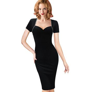 Vfemage Womens Elegant Sexy Vintage Retro Pinup Tunic Wear to Work Office Business Casual Party Pencil Sheath Bodycon Dress 2129