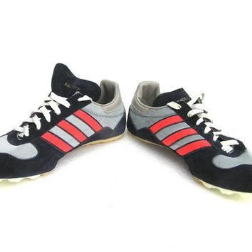 Vintage Adidas running shoes sneakers for kids size dark blue and neon pink made in US
