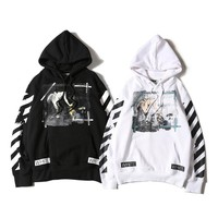 Off White Blue Edge Canvas Hooded Sweater M Xxl | Best Deal Online
