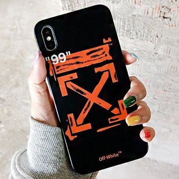 Off White New fashion arrow print couple protective cover phone case Black