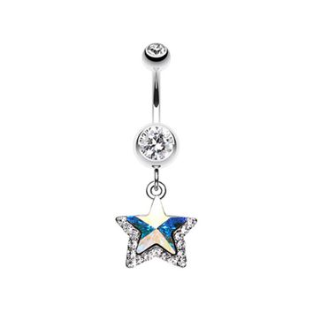 Crystal Star Prism Belly Button Ring