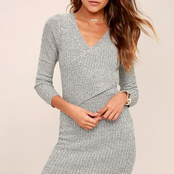 Hold Me Closer Black and White Midi Sweater Dress